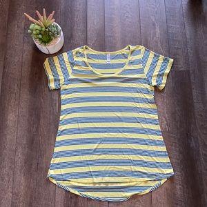 LuLaRoe yellow striped perfect Tee Large A30